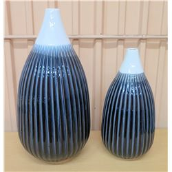 "Qty 2 Glazed Ridged Ceramic Vases 24""H & 18""H"