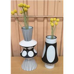 Qty 2 B&W Jonathan Adler Vases