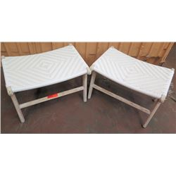"Qty 2 Woven Top Outdoor Benches 24""L x 16""W x 16""H"