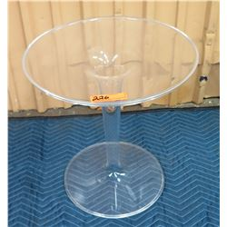 "Circular Lucite Side Table 19"" Dia, 20""H"