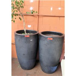 "Qty 2 Large Clay Planter Pots 20"" Dia, 36""H"