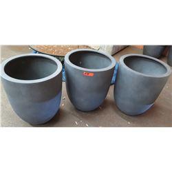 "Qty 3 Plastic Planters 20.5"" Dia, 24.5""H"