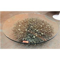 "Round Glass Coffee Table w/ Modern Metal Designed Base 48"" Dia, 15""H"
