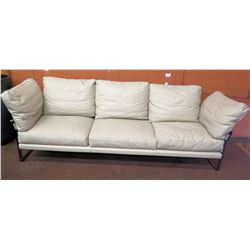 Fendi Modern White Leather Sofa, Removable Cushions