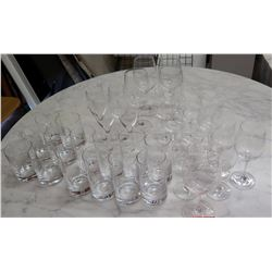 Large Lot of Glass Stemware & Beverage Glasses
