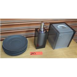 Soap Dispenser, Tissue Holder & Dinner Plates