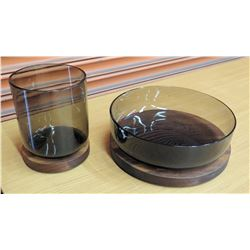 Brown Glass Canister & Bowl w/ Wooden Lids