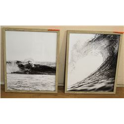 "Qty 2 Black & White Photographs of Surfer & Wave 15"" x 17"""