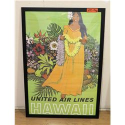 "Large ""United Airlines"" Greeting Poster, Framed 20""W x 38""H"