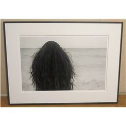 "B&W Franco Salmoiraghi Canon Inkjet Print, Back Signed by Artist, Framed 41"" x 31"", Woman at Ocean -"