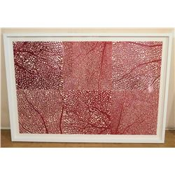 "Large Framed Art, Spotted Red & White 60"" x 42"""