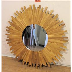 "Wooden Sunburst Mirror 41"" Dia."