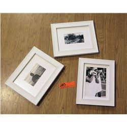 "Qty 3 Black & White Framed Photographs 10""L x 8""W"