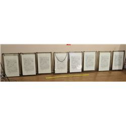 "Qty 8 Framed Sheets of Music 18""L x 12""W"