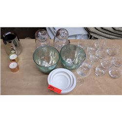 Beverage Glasses, Canisters, Bowls, Candles, etc.