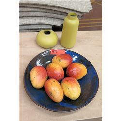 Faux Mangoes in Glass Bowl w/ Bulb Vase