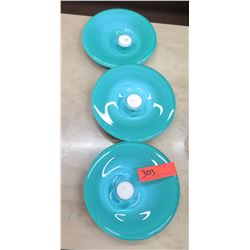 Qty 3 Blue Glass Tealight Candle Holders