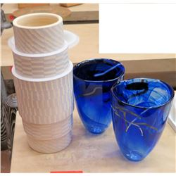 Qty 2 Blue Costa Boda Vases & Architectual Ceramic Vase