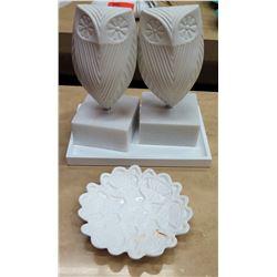 Qty 2 Jonathan Adler Ceramic Owls on Stone Base & Decorative Dish