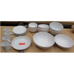 Crate & Barrel Dishware: Dinner Plates, Small & Large Bowls, Coffee Mugs