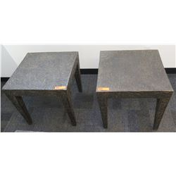 Qty 2 'Stone-Look' Composite Square End Tables