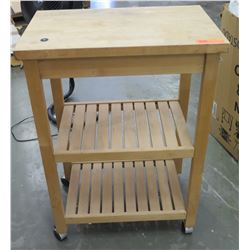 "Rolling Wooden Butcher Block Stand w/ 2 Shelves, 26"" x 17"" x 36"" H"