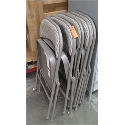 Qty 5 Upholstered Metal Folding Chairs