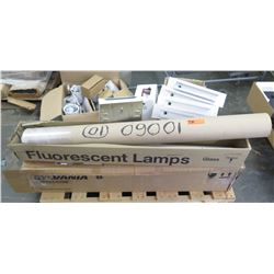 Pallet of Philips Sylvania Day-Brite Fluorescent Lights w/ Parts & Accessories