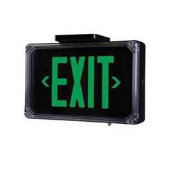 Qty 4 Dual-Lite Aluminum Single-Face Exit Sign, Model SEWLSGBE