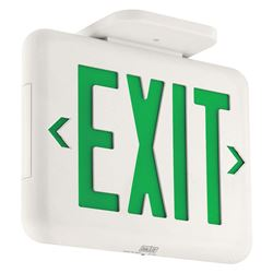 Qty 2 Dual-Lite White Green LED Exit Sign, Model EVEUGW