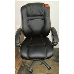 Executive Black Wheeled Rolling Office Chair w/ Armrests