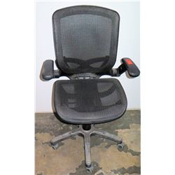 Executive Black Mesh Wheeled Rolling Office Chair w/ Armrests