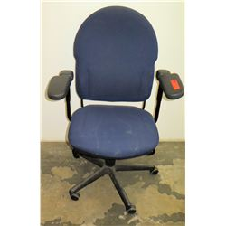 Executive Blue Upholstered Wheeled Rolling Office Chair w/ Armrests