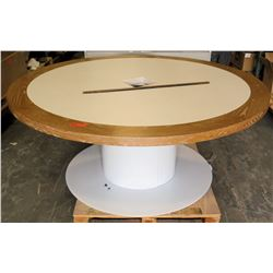 Round White Table Wood Rim on Pedestal Base