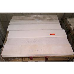 "Qty 16 White Stone Tile Strips 7"" x 39"" & Single-Piece Backer Board? 18"" x 72"""