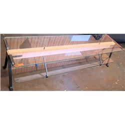 "Long 2-Tier Glass Table w/Wood & Metal Frame, 79""L x 20""W x 20""H"