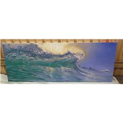 "Stretched Canvas, Wave Art, 'South Shore' Right Panel, 64"" x 24"" Back Signed by Artist, 2016"