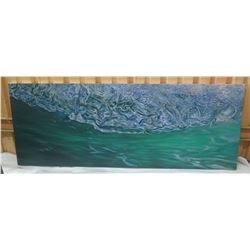 "Stretched Canvas, Wave Art, 'South Shore' Left Panel, 64' X 24"" Back Signed by Artist, 2016"
