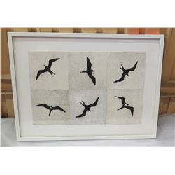"Framed Photographic Art: Black Birds on Paper, Watercolor? 31"" X 24"""
