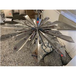 "Mirrored Chrome Sunburst Chandelier, Approx. 47"" Dia."