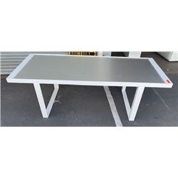"White Metal Frame Table (missing top cap) 88"" x 36"""