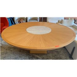 Large Wooden Dining Table w/ Rotating Marble Center (Fits 8), Light Scratch from Edge Running Toward