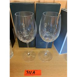 Qty 2 Waterford Crystal 'Lismore Essence' Stemmed Wineglasses