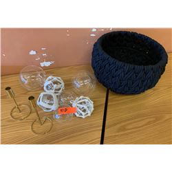 Misc. Clear Glass Balls (some in netting) & Black Basket
