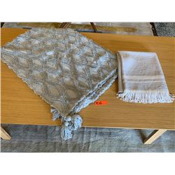 Lt. Gray Textured Throw & Sferra Throw