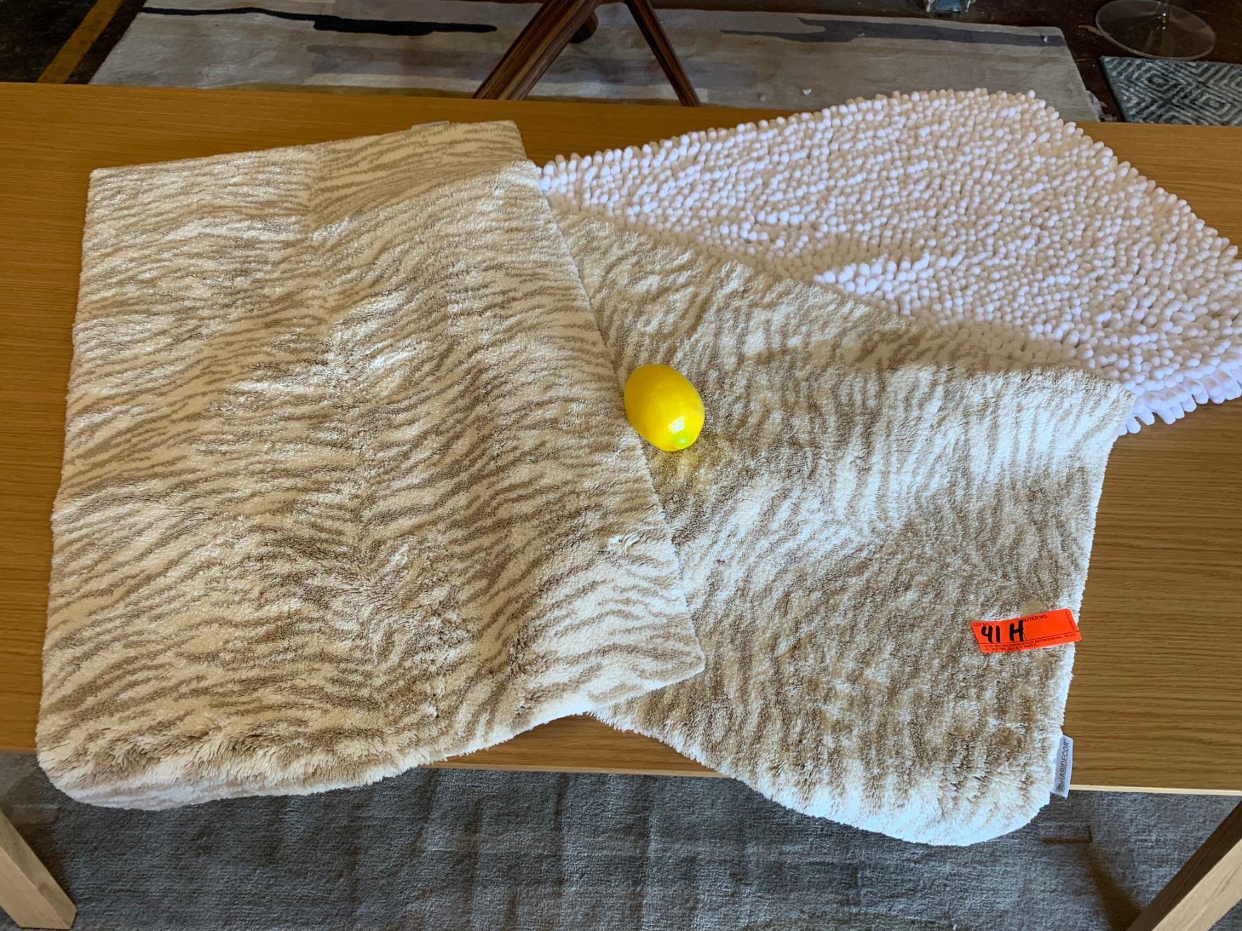 2 Habidecor Animal Print Bath Rugs 1 Plush White Pompom Bath Rug Oahu Auctions
