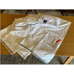 3 King Shams, 1 White Hudson Park Flat Sheet, 1 White Ralph Lauren Flat Sheet (size unknown)