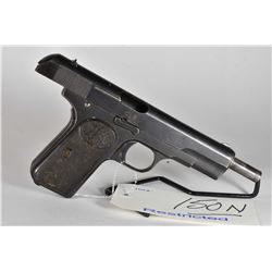 Restricted - F.N. Browning Model 1903 .9 MM Browning Long Cal 7 Shot Semi Auto Pistol w/ 127 mm bbl