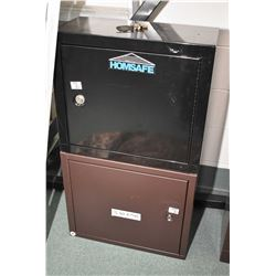 Lot of Two Brown Stack On Locking Handgun Cabinets w/ keys