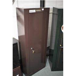 Brown Stack On Locking Rifle Cabinet w/ key